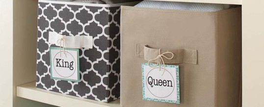 Organizing Tip of the Day:  Make Pretty Tags with Scrapbook Paper