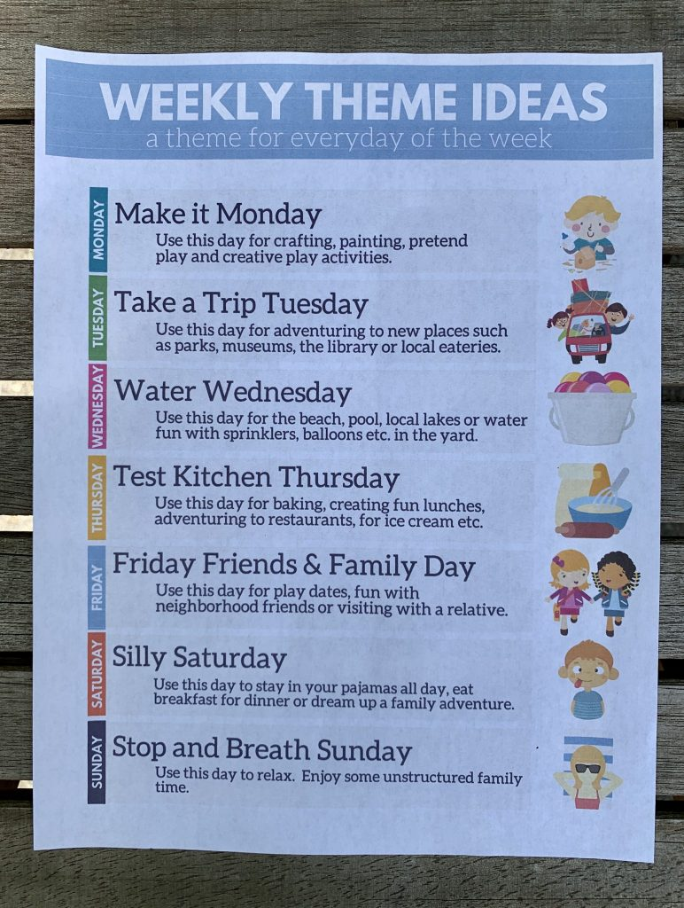 Weekly Theme Ideas for Summer Vacation - Life's Lists Summer Activity Pack