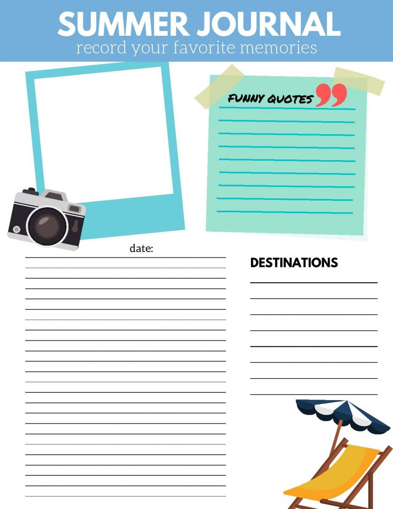 Summer Journal Printable  - Life's Lists Summer Activity Pack
