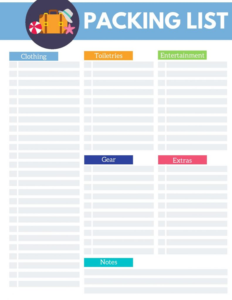 Packing List Printable  - Life's Lists Summer Activity Pack
