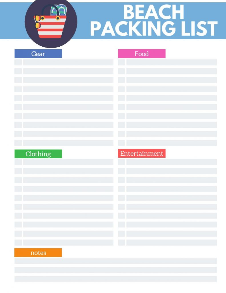 Beach Packing List Printable - Life's Lists Summer Activity Pack